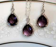 Bridesmaid Jewelry Set Purple Jewelry Set Purple by PoetryBridal, $37.00