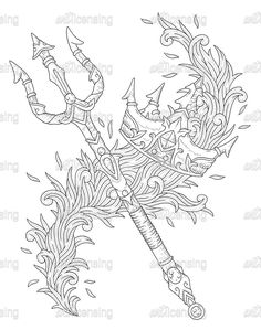 poseidons trident coloring pages   How to Draw Poseidon, Step by Step, Greek Mythology ...
