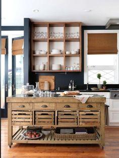 Une desserte de ce genre, mais plus petite pourrait être posée en bout du meuble de cuisine. Déplaçable à souhait. Formule intéressante si les meubles sont peints en gris, pour le contraste.