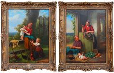 """Jan Walraven. (Dutch, 1827-died circa 1863)    Teaching Baby (PAIR)    Dutch    24"""" X 18""""    30"""" X 24"""" Framed  Excellent condition, presented in gilded frames, of the period."""