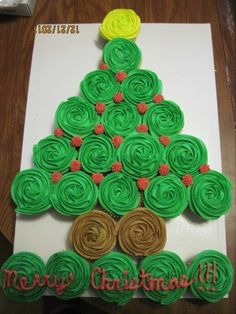 Christmas tree made out of cupcakes for Serenity's Christmas party at daycare!