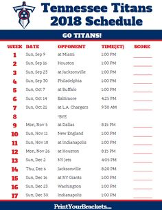 Printable 2018 Tennessee Titans Football Schedule