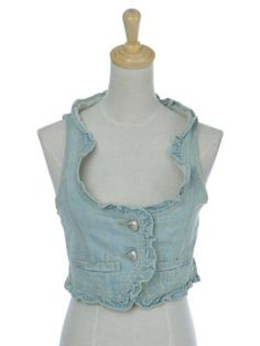 Anna-Kaci S/M Fit Blue Beach Wash Out Girly Ruffled Trim Cropped Mini Denim Vest Anna-Kaci. $13.00