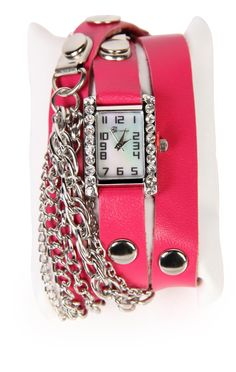 Deb Shops #pink wrap #watch with chain and stones
