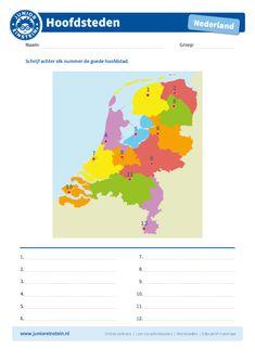 Zoek de goede hoofdstad bij het nummer - Junior Einstein - Oefen met dit werkblad het herkennen van de twaalf hoofdsteden van Nederland. Zoek de hoofdstad op de kaart en kijk welk nummer erbij staat. Kijk ook in welke provincie de hoofdstad ligt, misschien helpt jou dit bij het bedenken van de hoofdstad. Schrijf achter elk nummer de goede hoofdstad. Op deze manier ga je de topografie van Nederland steeds beter kennen. Tip: leer voor het maken van dit werkblad de hoofdsteden op ons leerblad. Dutch Language, School Tool, Home Activities, Homeschool Math, Quality Time, Fun Learning, Life Skills, Diy For Kids, Kids Playing