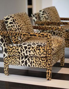 Kristen Buckingham covered these midcentury chairs with leopard velvet!