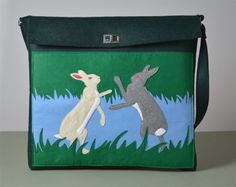 The Pointing Hound presents: BOXING RABBITS green felt bag available on:  https://www.etsy.com/shop/THEPOINTINGHOUND?ref=l2-shopheader-name