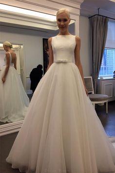 Wedding Dresses 2018, Sleeveless Wedding Dress, Backless Wedding Dress, Custom Made Wedding Dress, Ivory Wedding Dress, A-Line Wedding Dress #Wedding #Dresses #2018 #ALine #Dress #Ivory #Sleeveless #Backless #Custom #Made