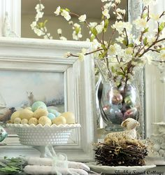 beautiful spring blossom centerpiece or buffet decor with hurricane vase. Love.