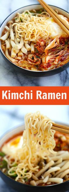 Kimchi Ramen – spicy Korean ramen with kimchi, mushroom and poached egg. - Kimchi Ramen – spicy Korean ramen with kimchi, mushroom and poached egg. Ramen Recipes, Asian Recipes, Cooking Recipes, Healthy Recipes, Ethnic Recipes, Noodle Recipes, Healthy Rice, Mexican Recipes, Delicious Recipes