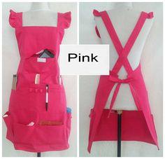 multi pocket  apron fashion stylist more makeup hairdresser painting designer scratch pink