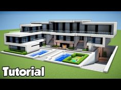 Minecraft: How To Build A Large Modern House Tutorial 2018 - Minecraft Servers Web - MSW - Channel Villa Minecraft, Minecraft Mansion Tutorial, Minecraft Modern Mansion, Minecraft World, Minecraft House Plans, Easy Minecraft Houses, Minecraft House Tutorials, Minecraft Houses Blueprints, Minecraft Room