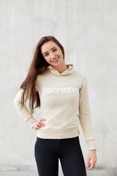 Beige Majuscule hoodie from Famme Beige, Custom Made, Turtle Neck, Hoodies, Fabric, Sweaters, Cotton, Jackets, Collection