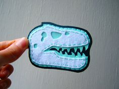Felt and Fake Leather Brooch - White and Mint T-Rex Skull by CandyBandits $19.74