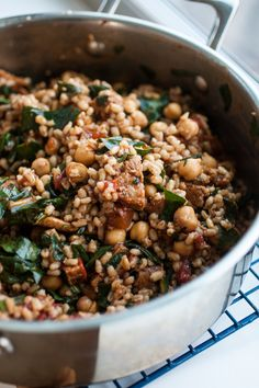 Produce On Parade - Warm Balsamic Barley Salad - Tender and chewy barley mingles with ripe tomato, vegan Italian sausage, bright swiss chard, and protein-rich chickpeas. Lightly bathed in a basil-balsamic dressing, this is a beautiful and hearty salad that?s great warm or cold. It tastes even better the following day, which makes it the perfect ?make ahead? salad!