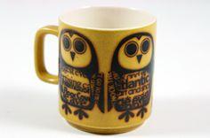 vintage Hornsea Pottery mug with newsprint owls