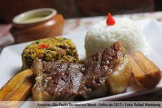 Consulado da Bahia (almoço)    Baião de dois  Arroz branco, feijão fradinho, carne seca, carne do sol, paio, calabresa, bacon, queijo coalho e banana da terra assada