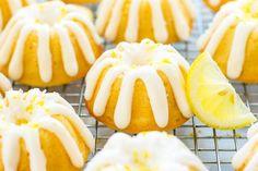 Mini Lemon Bundt Cakes with Cream Cheese Frosting make a wonderful Easter or Spring dessert recipe that is full of fresh lemon flavor. Spring Desserts, Lemon Desserts, Lemon Recipes, Spring Recipes, Healthy Desserts, Bunt Cakes, Cupcake Cakes, Cupcakes, Poke Cakes