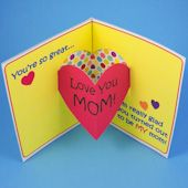 Heart pop-up backed with decorative paper Mothers Day Crafts For Kids, Mothers Day Cards, Birthday Card For Aunt, Birthday Month, Shaped Cards, Love You Mom, Pop Up Cards, Paper Decorations, Kids Cards