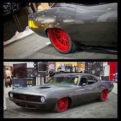 """SEMA 2014 : """"HellFish"""" 1000 HP Barracuda built By Roadster Shop. 1000 Horsepower Twin Turbo 'Cuda that looks something like a stealth fighter jet for the streets. grey red wheels hell fish is sick dodge challenger plymouth"""