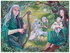 """Cell-shaded illustration of the scene between the High Lord, the Consort, Lord Evarrim and Lord Ynpharion from Chapter 21 of Cast in Flame by Michelle Sagara. The title of the painting is """"The buil..."""