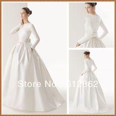 New Arriving Ball Gown Long Sleeve Satin Muslim Wedding Dress $147.00