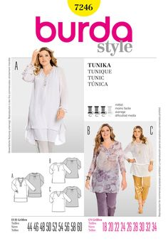 loose, casual tunics, light fabrics, with pleats that spring from the shoulders