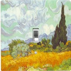 "Rikki KnightTM Van Gogh Art Cornfield with Cyprusses - Single Toggle Light Switch Cover by Rikki Knight. $13.99. The Van Gogh Art Cornfield with Cyprusses single toggle light switch cover is made of commercial vibrant quality masonite Hardboard that is cut into 5"" Square with 1'8"" thick material. The Beautiful Art Photo Reproduction is printed directly into the switch plate and not decoupaged which make these Light Switch Plates suitable for use in any room in the office, home, ..."