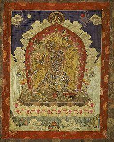 Tibet  Vajrayogini (Naro Dakini) with Siddha, c. late 19th to early 20th century  Textile; Ceremonial/Ritual Furnishing, Silk fabric appliqué with silk and metallic thread embroidery and pearls, 55 1/4 x 40 in. (140.3 x 101.6 cm)
