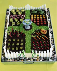 Garden Carrot Cake with marzipan veggies and fence by Martha Stewart