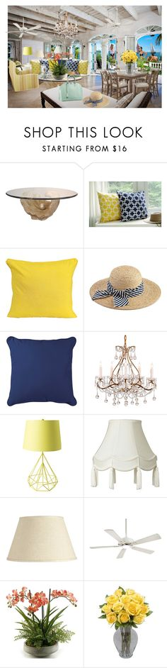 """""""Beach Living with a view"""" by sophia561 ❤ liked on Polyvore featuring Sag Harbor, Hat Attack, Improvements, Ballard Designs, Minka Aire, Home Decorators Collection and Louis Vuitton"""