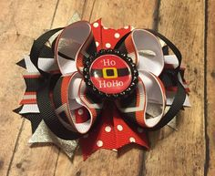 Ho Ho Ho hair bow, Christmas Hairbow, Holiday bow, Santa hair bow, Boutique bow, Festival, Christmas Boutique Bow by BBgiftsandmore on Etsy