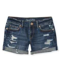 Medium Wash Destroyed Midi Shorts - Aeropostale: $19.75