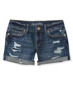 Medium Wash Destroyed Midi Shorts - Aeropostale: $19.75