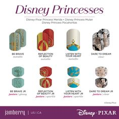 Give yourself an amazing manicure at home with the Disney Collection by Jamberry nail wraps! Gorgeous princess designs and more! Disney Princess Nails, Princess Pocahontas, Princess Merida, Disney Nails, Disney Princesses, Jamberry Disney, Jamberry Nail Wraps, Disney Designs, Nail Designs