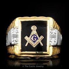 Black Onyx Masonic Ring  NICE