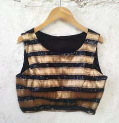 Black  Gold Padded Blouse with Sequin / Gold Zari by Amoristudios