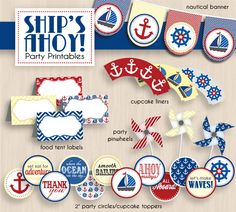nautical pictures to print | SHIPS AHOY Nautical Birthday Party Printable Package- Instant ...