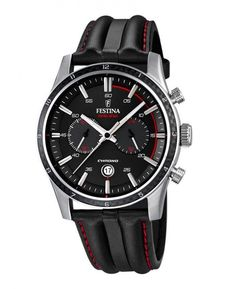 4756be91a54 Festina F16874 4 Men s Watch Chrono Sport Black Dial Black With Red  Stitching Leather Strap