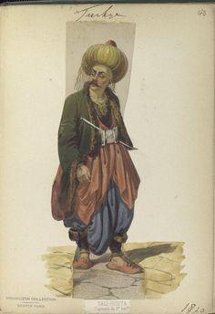 Sali-ousta. Captain of the 1st Battalion. The Vinkhuijzen collection of military uniforms / Turkey, 1818. See McLean's Turkish Army of 1810-1817.
