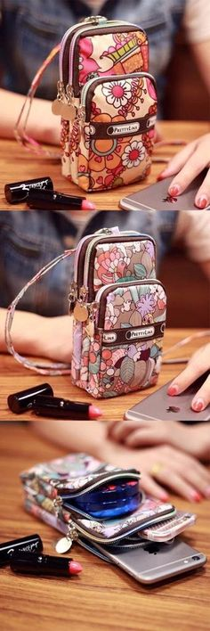 It has three layers for you to carry smartphone, earphone, money, key and makeup, etc. Sacs Tote Bags, Things To Buy, Stuff To Buy, Purse Wallet, Coin Purse, Pattern Fashion, Travel Bags, Purses And Bags, Fashion Accessories