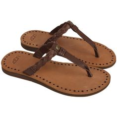 Ugg Australia Womens Chocolate Leather Braided Strap Flip Flops ($45) ❤ liked on Polyvore featuring shoes, sandals, flip flops, flats, flat sandals, flip flop sandals, woven leather sandals, flat shoes ve platform sandals
