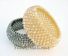 MORE EXAMPLES OF GORGEOUS WIDE CRYSTAL BRACELET !! AN ABSOLUTELY MUST-MAKE !!