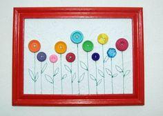 Quadro decorativo, papel relevo com bordado e botões aplicados emoldura em madeira.