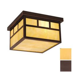 Cascadia Lighting Mission 11.5-in W Burnished Bronze Outdoor Flush Mount Light