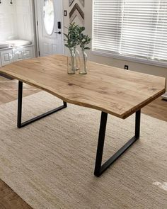 Modern Dining Table, Dining Room Table, Natural Wood Dining Table, Modern Farmhouse Table, Wood Slab Dining Table, Dining Table Decorations, Rustic Modern Living Room, Dining Table Placemats, Farmhouse Bench