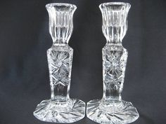 Vintage Crystal Glass Candlestick holders by BelleBloomVintage, $34.95 from BelleBloomVintage on Etsy