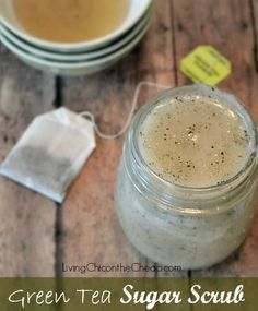 **Homemade Green Tea Sugar Scrub** This Scrub is AWESOME! I love the smell and it is SO easy to make. You probably have EVERYTHING you need. Plus you can make this DIY version for Pennies...WAY less expensive than the retail version. #DIYbeauty