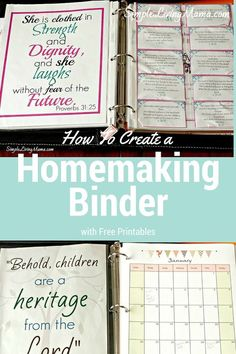 I've been working on putting together my 2016 homemaking binder for a few days now, and I'm excited to show it to you! I love being able to customize my binder, Household Notebook, Household Binder, Household Organization, Binder Organization, Organizing Life, Household Tips, Printable Organization, Household Chores, Organizing Ideas