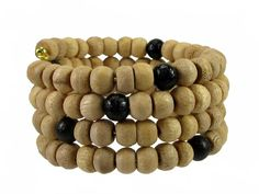 Natural and Black Tulsi Wood Memory Wire Bracelet, 108 Beads #bc177 by CycleofLifeDesign on Etsy